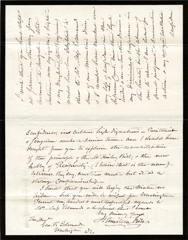 Image 1 for Hamilton Fish - Autograph Letter Signed 11/21/1891 - HFSID 3074