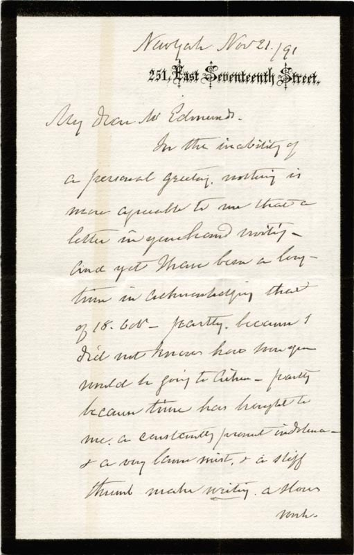 Image 3 for Hamilton Fish - Autograph Letter Signed 11/21/1891 - HFSID 3074