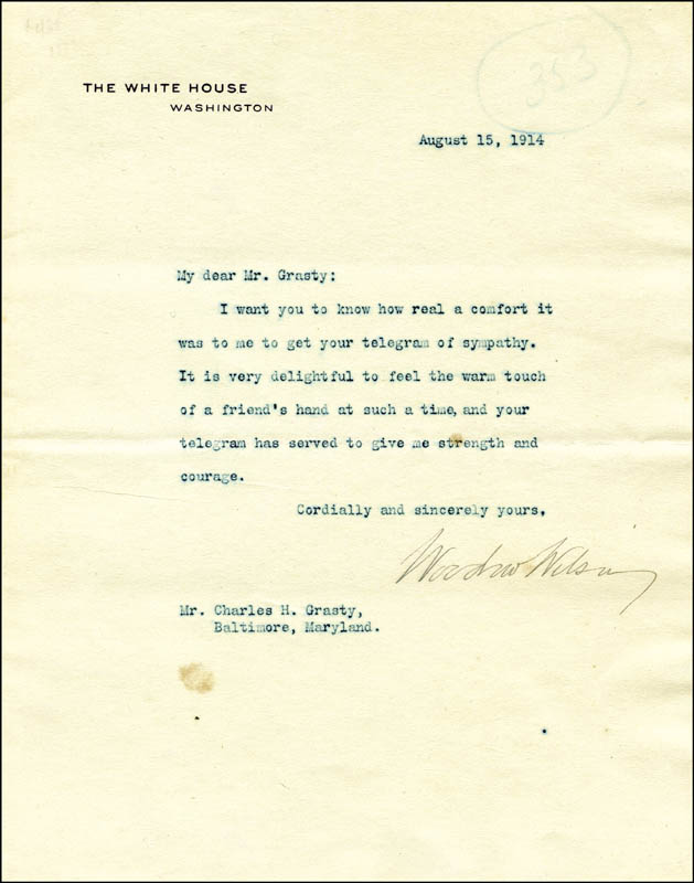 Image 1 for President Woodrow Wilson - Typed Letter Signed 08/15/1914 - HFSID 30768
