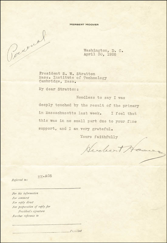 Image 1 for President Herbert Hoover - Typed Letter Signed 04/30/1928 - HFSID 30792