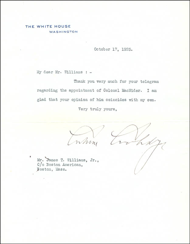 Image 1 for President Calvin Coolidge - Typed Letter Signed 10/17/1925 - HFSID 30812