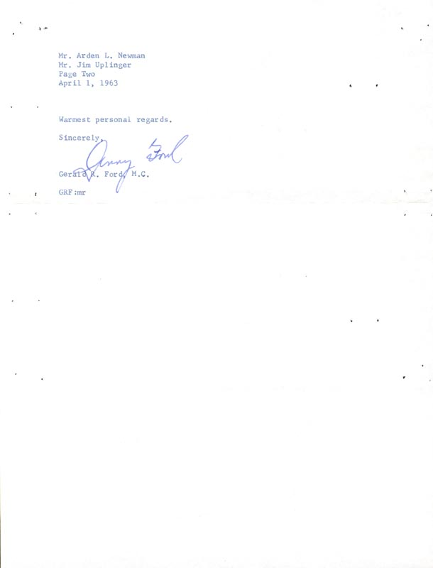 Image 1 for President Gerald R. Ford - Typed Letter Signed 04/01/1963 - HFSID 30831