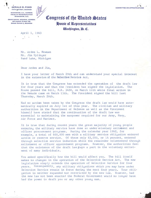 Image 3 for President Gerald R. Ford - Typed Letter Signed 04/01/1963 - HFSID 30831