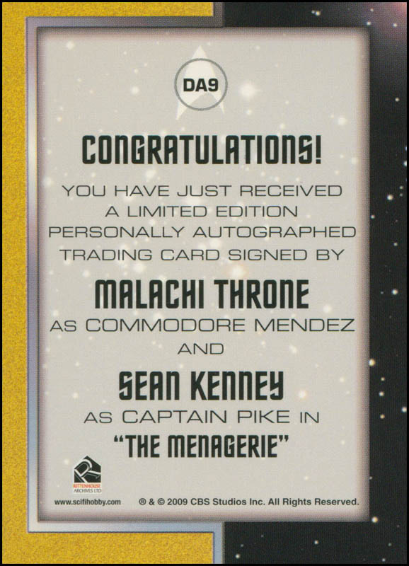 Image 3 for Star Trek TV Cast - Trading/Sports Card Signed co-signed by: Malachi Throne, Sean Kenney - HFSID 308630