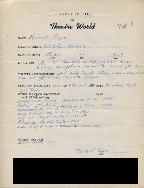 Image 1 for Michael Ryan - Autograph Resume Signed - HFSID 308685