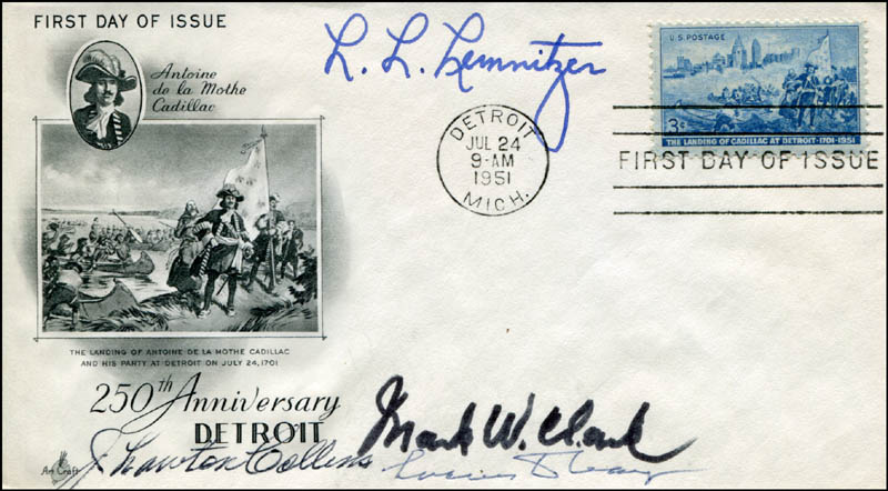 Image 1 for General Lyman L. Lemnitzer - First Day Cover Signed co-signed by: General J. Lawton Collins, General Lucius D. Clay, General Mark W. Clark - HFSID 308755