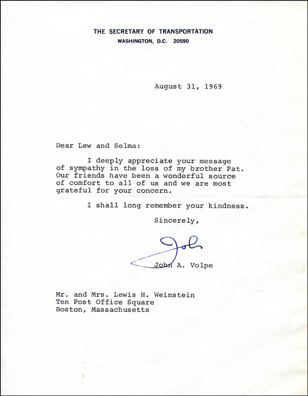 Image 1 for John A. Volpe - Typed Letter Signed 08/31/1969 - HFSID 308781