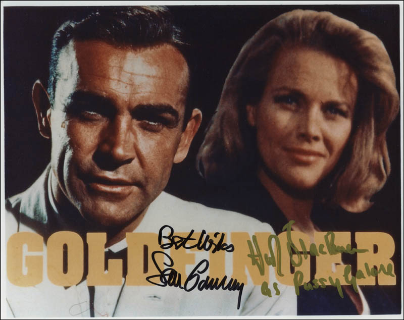 Image 1 for Goldfinger Movie Cast - Autographed Signed Photograph co-signed by: Sean Connery, Honor Blackman - HFSID 308823