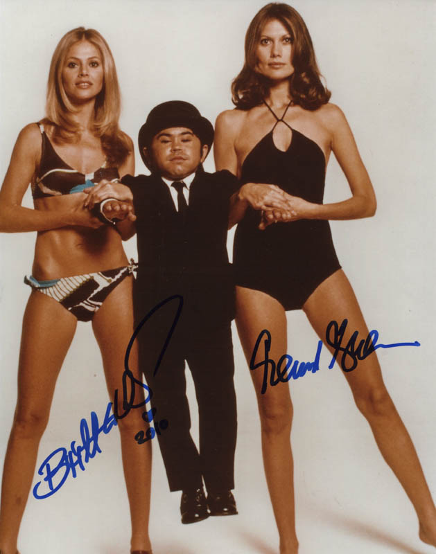 Image 1 for The Man With The Golden Gun Movie Cast - Autographed Signed Photograph co-signed by: Britt Ekland, Maud Adams - HFSID 308824