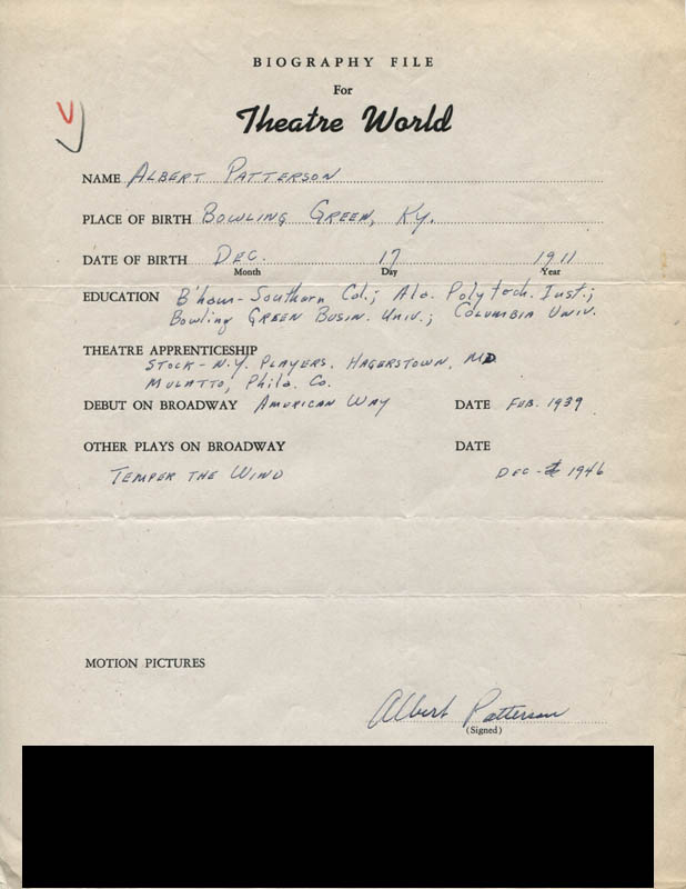 Image 1 for Albert Patterson - Autograph Resume Signed - HFSID 308833