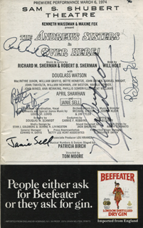 Image 1 for Over Here! Play Cast - Show Bill Signed co-signed by: Maxene Andrews, Robert B. Sherman, Janie Sell, Bette Henritze - HFSID 309028