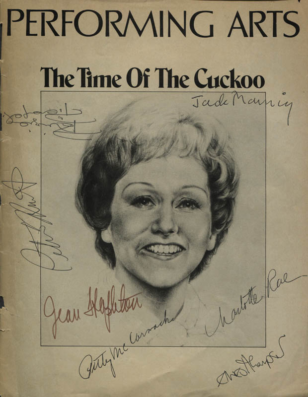 Image 1 for The Time Of The Cuckoo Play Cast - Show Bill Cover Signed with co-signers - HFSID 309107