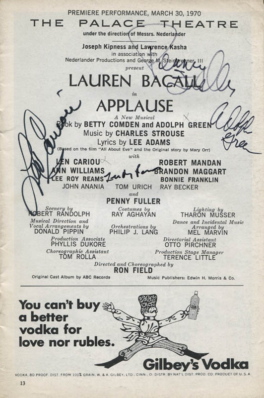 Image 1 for Applause Play Cast - Show Bill Signed co-signed by: Len Cariou, Adolph Green, Penny Fuller, Lee Roy Reams - HFSID 309110
