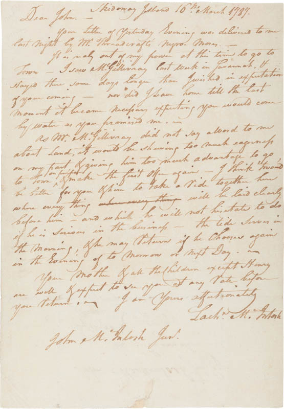 Image 1 for Brigadier General Lachlan Mcintosh - Autograph Letter Signed 03/16/1787 - HFSID 309261