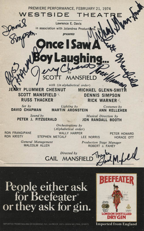 Image 1 for Once I Saw A Boy Laughing... Play Cast - Show Bill Signed with co-signers - HFSID 309317