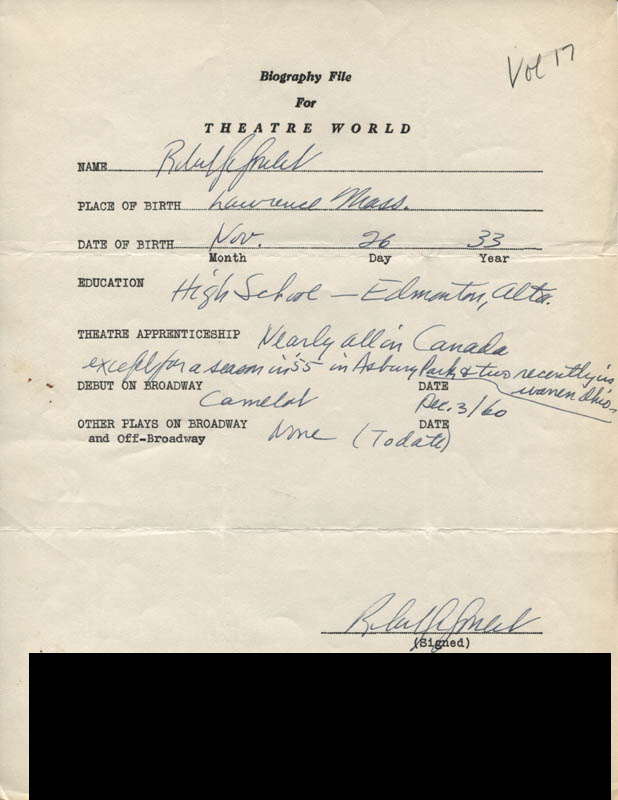 Image 1 for Robert Goulet - Autograph Resume Signed - HFSID 309522