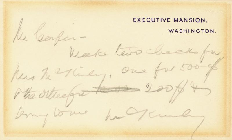 Image 1 for President William Mckinley - Autograph Note On White House Card Signed - HFSID 30958