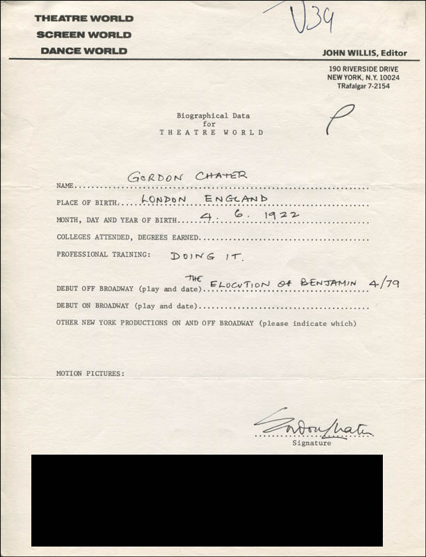 Image 1 for Gorodn Chater - Autograph Resume Signed - HFSID 309581