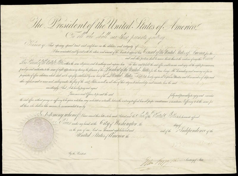 Image 1 for President Martin Van Buren - Diplomatic Appointment Signed 12/20/1840 co-signed by: John Forsyth - HFSID 30960