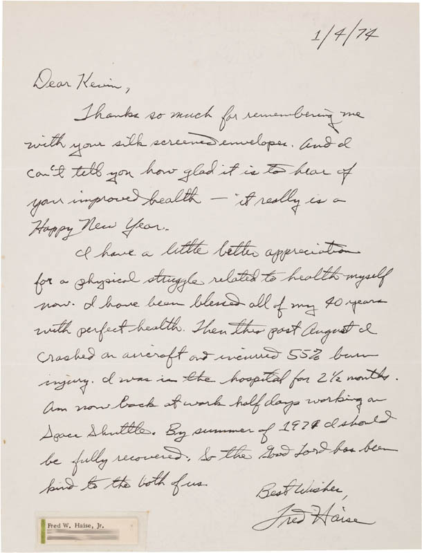 Image 1 for Fred W. Haise Jr. - Autograph Letter Signed 01/04/1947 - HFSID 309700