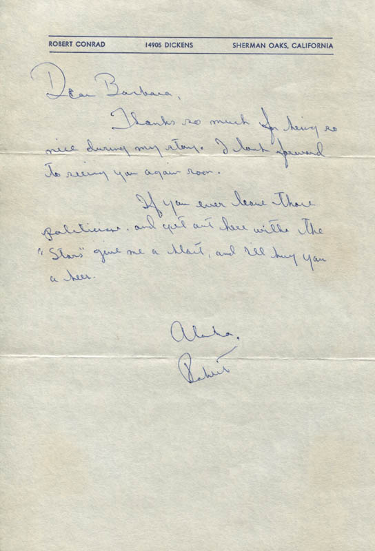 Image 1 for Robert Conrad - Autograph Letter Signed - HFSID 309877