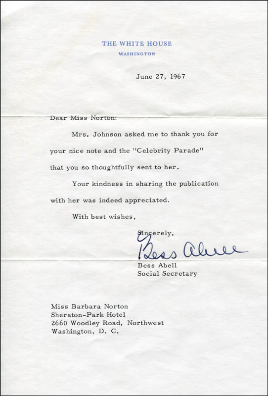 Image 1 for Bess Abell - Typed Letter Signed 06/27/1967 - HFSID 309992