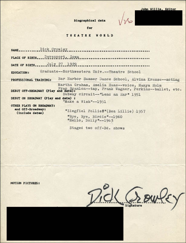 Image 1 for Dick Crowley - Typed Resume Signed - HFSID 310173
