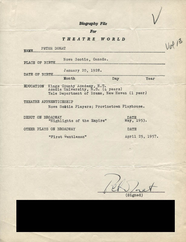 Image 1 for Peter Donat - Typed Resume Signed - HFSID 310311