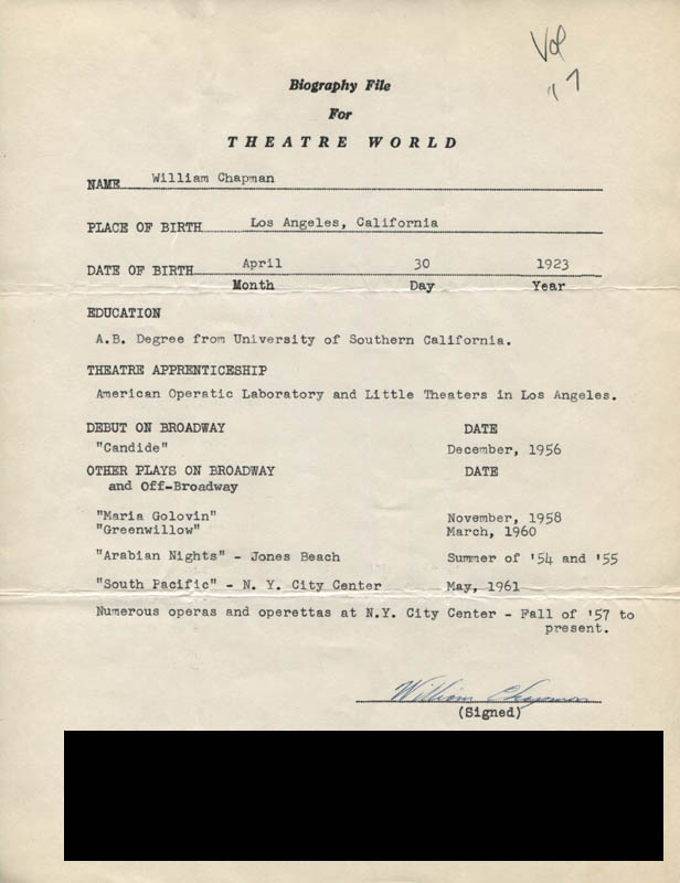 Image 1 for William Chapman - Typed Resume Signed - HFSID 310319