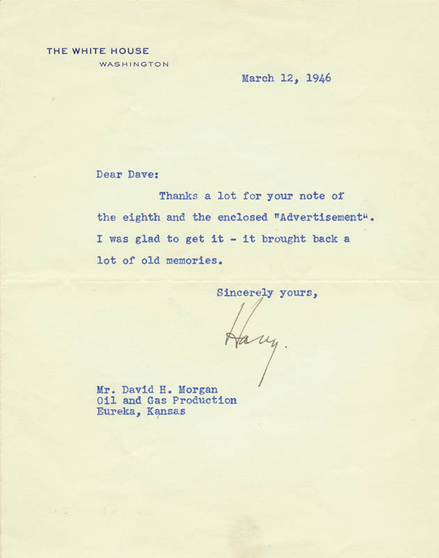 Image 1 for President Harry S Truman - Typed Letter Signed 03/12/1946 - HFSID 31036