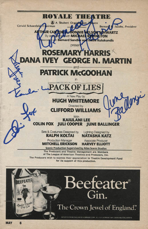 Image 1 for Pack Of Lies Play Cast - Show Bill Signed co-signed by: Rosemary Harris, Kaiulani Lee, Dana IVey, June Ballinger, Colin Fox - HFSID 310394
