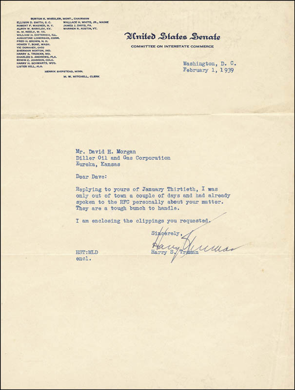 Image 1 for President Harry S Truman - Typed Letter Signed 02/01/1939 - HFSID 31057