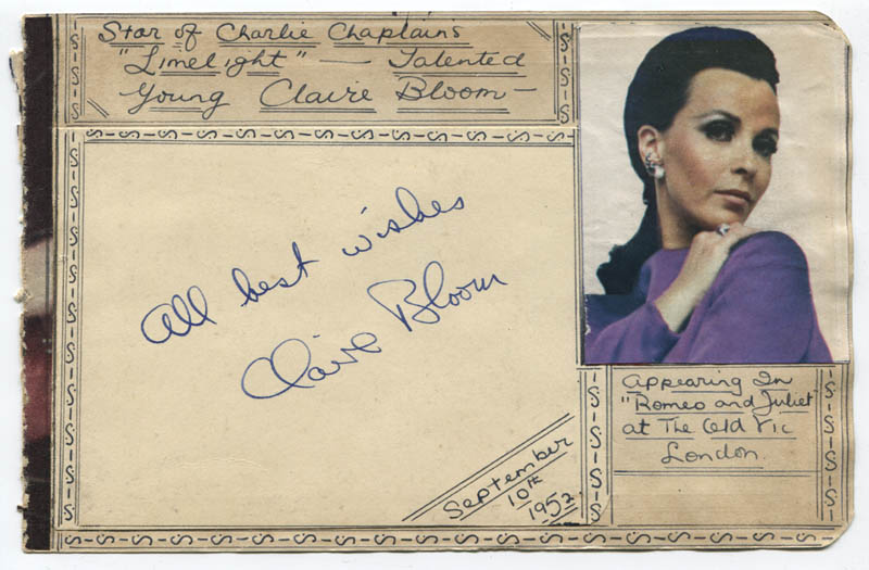 Image 1 for Claire Bloom - Autograph Sentiment Signed Circa 1952 - HFSID 310629