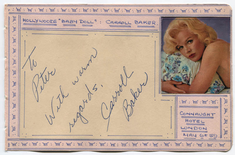 Image 1 for Carroll Baker - Autograph Note Signed Circa 1959 - HFSID 310653