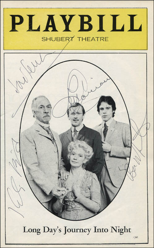 Image 1 for Long Day'S Journey Into Night Play Cast - Show Bill Signed co-signed by: Len Cariou, Kate Reid, Jose Ferrer, Ben Masters - HFSID 310683