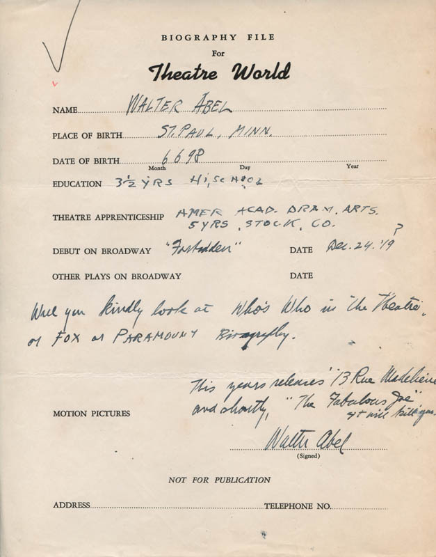 Image 1 for Walter Abel - Autograph Resume Signed - HFSID 311247