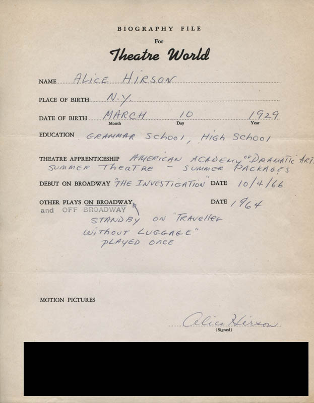 Image 1 for Alice Hirson - Autograph Resume Signed - HFSID 311284