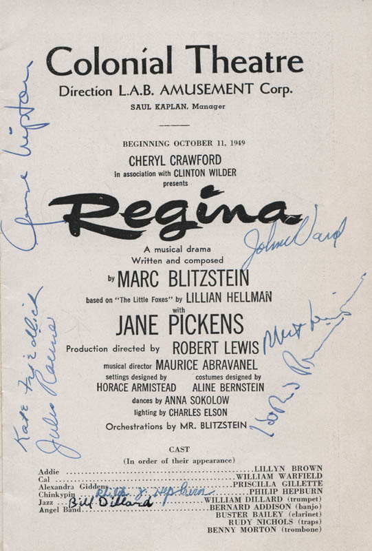 Image 4 for Regina Play Cast - Show Bill Signed with co-signers - HFSID 311498