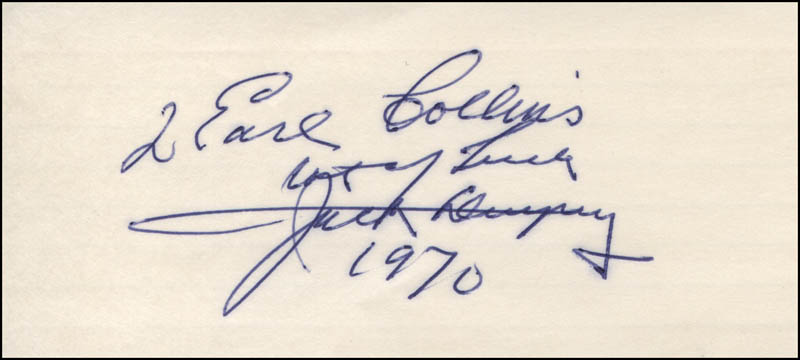 Image 1 for Jack Dempsey - Autograph Note Signed 1970 - HFSID 311587