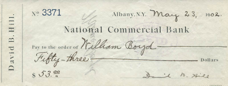 Image 1 for David B. Hill - Autograph Check Signed 05/23/1902 - HFSID 311672
