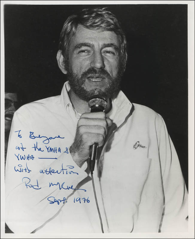 Image 1 for Rod Mckuen - Autographed Inscribed Photograph 09/1976 - HFSID 311675