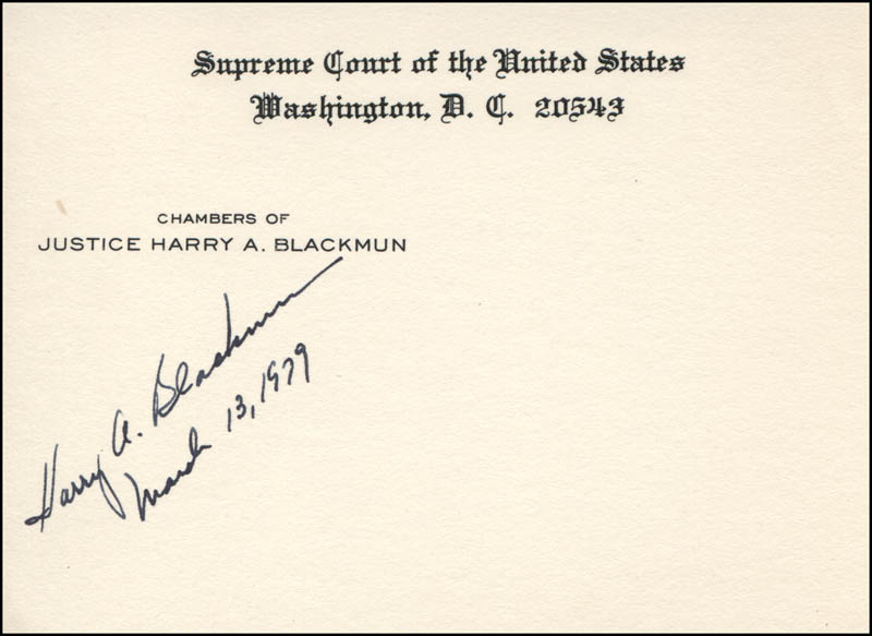 Image 1 for Associate Justice Harry A. Blackmun - Supreme Court Card Signed 03/13/1979 - HFSID 311801