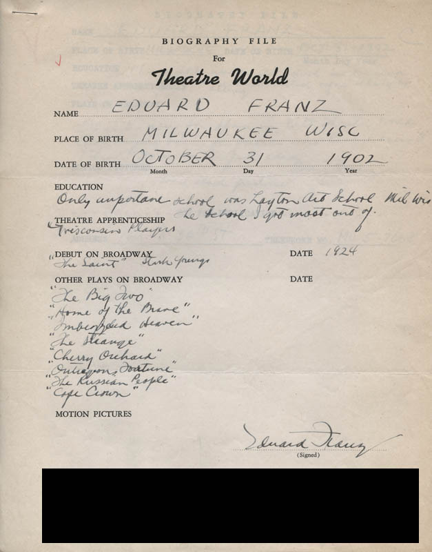 Image 1 for Eduard Franz - Autograph Resume Signed - HFSID 311858