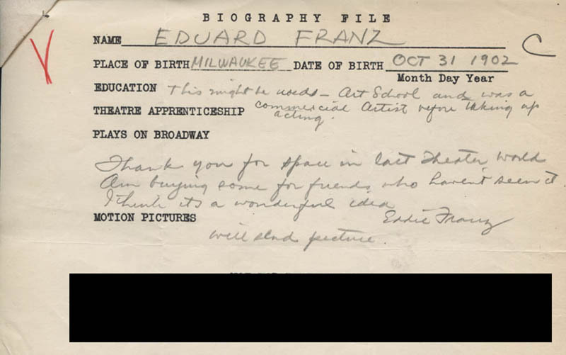 Image 3 for Eduard Franz - Autograph Resume Signed - HFSID 311858