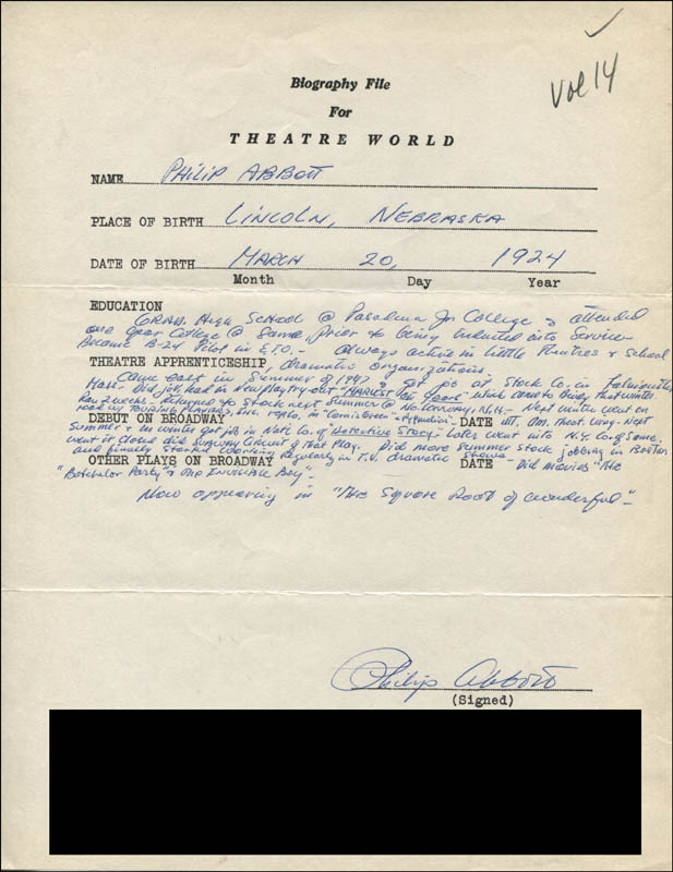 Image 1 for Philip Abbott - Autograph Resume Signed - HFSID 312050