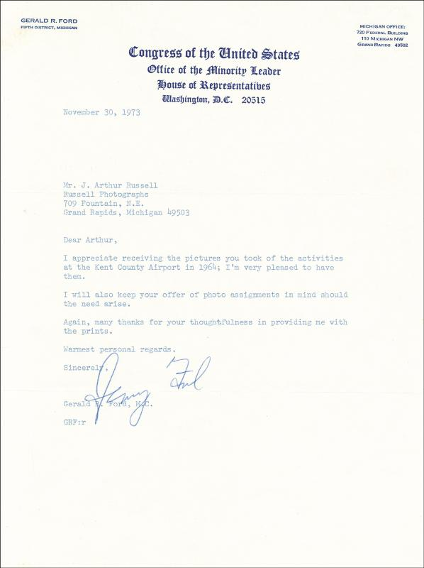 Image 1 for President Gerald R. Ford - Typed Letter Signed 11/30/1973 - HFSID 31207