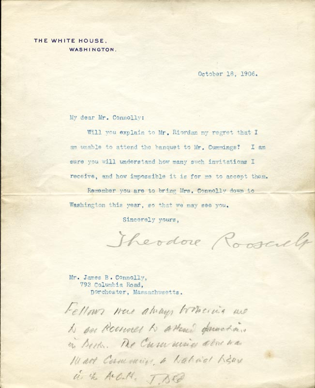 Image 1 for President Theodore Roosevelt - Typed Letter Signed 10/18/1906 co-signed by: James B. Connolly - HFSID 31212
