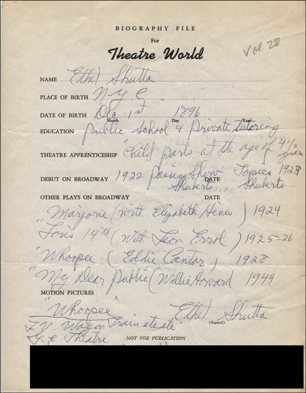 Image 1 for Ethel Shutta - Autograph Resume Signed - HFSID 312274