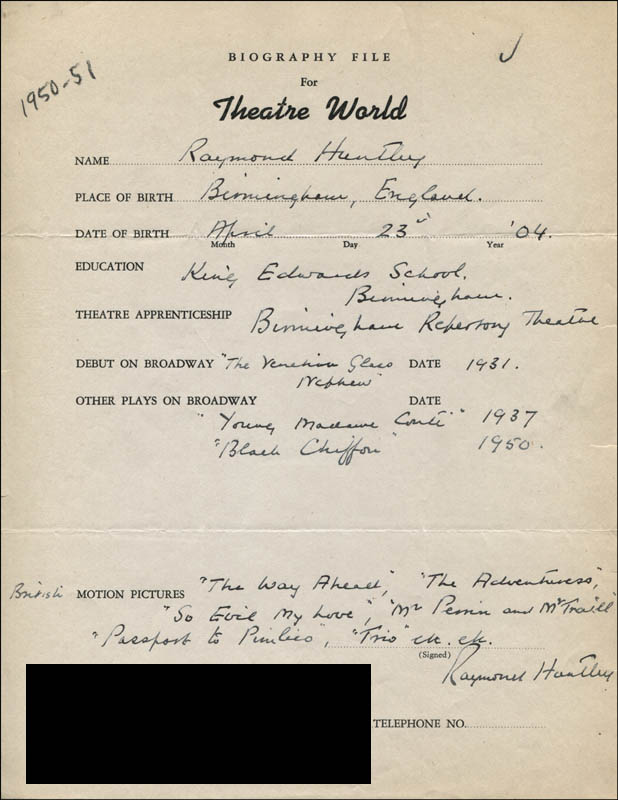 Image 1 for Raymond Huntley - Autograph Resume Signed - HFSID 312350