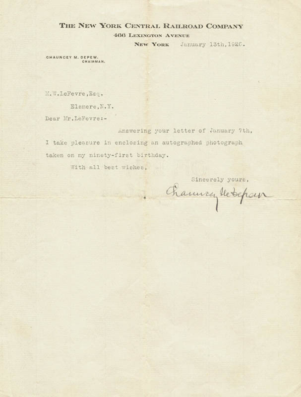 Image 1 for Chauncey M. Depew - Typed Letter Signed 01/13/1926 - HFSID 31240